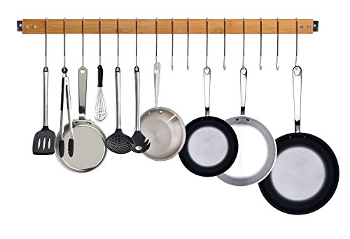 JackCubeDesign dekorative Bambus Küche Wandhalterung Topf Pfanne Rack / Aufhänger / Speicherorganisator mit 15 Haken -: MK420A