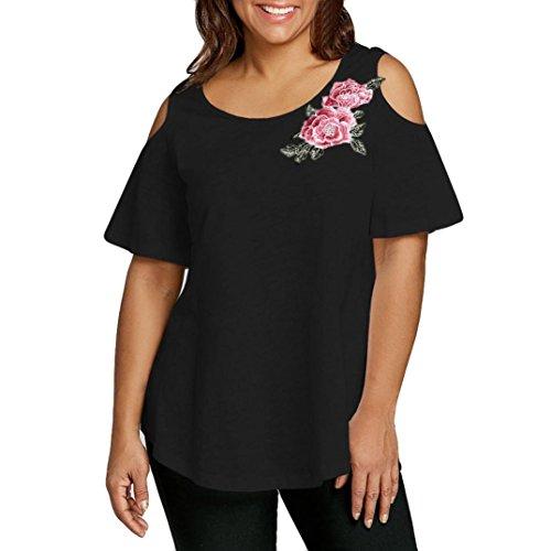FAMILIZO Camisetas Mujer Verano Blusa Mujer Elegante Camisetas Mujer Manga Corta Algodón Camiseta Mujer Camisetas Mujer Fiesta Camisetas Sin Hombros Mujer Camisetas Mujer Tallas Grandes (5XL, Negro)