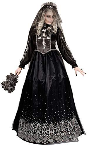 Karneval-Klamotten Schwarze Braut Kostüm Damen mit Schleier Horror-Braut