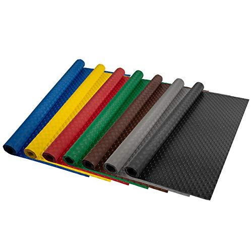 Flachnoppen PVC Bodenbelag | 2,2 mm Stärke | rutschhemmender Belag für Böden in Werkstatt, Garage, gewerbliche Räume uvm. | viele Farben & Größen (schwarz - 120x150 cm)