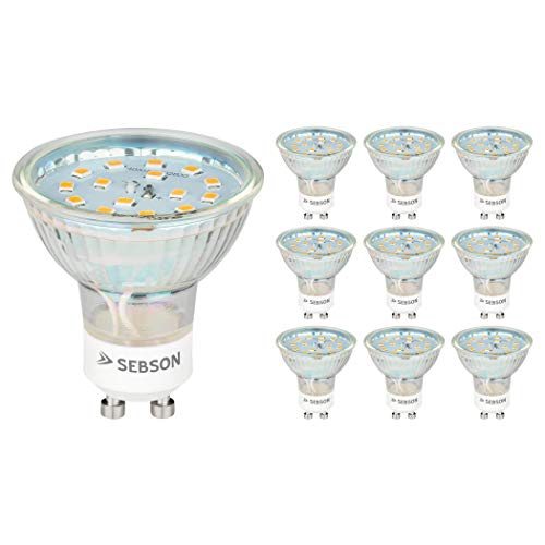 SEBSON® LED Lampe GU10 5W warmweiß 3000k, ersetzt 35W, 420lm, Ra97, 230V LED Leuchtmittel, Einbaustrahler flimmerfrei, 10er Pack