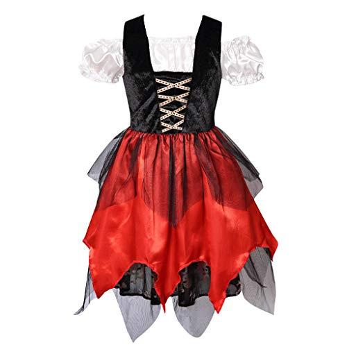 Meeyou Mädchen piraten-prinzessin kostüm mit hut und schwert XL 7-8Y Schwarz&Rot(dress Only)