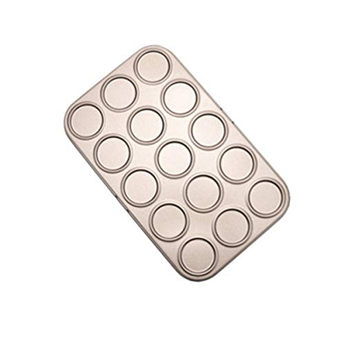 RRQG 15/30/35 Holes Cookie Sheet Macaron Pan, Non-Stick Carbon Steel Shallow Bakeware for Baking Pastry, Cookie, Macaron, Brioche(15-Capacity)