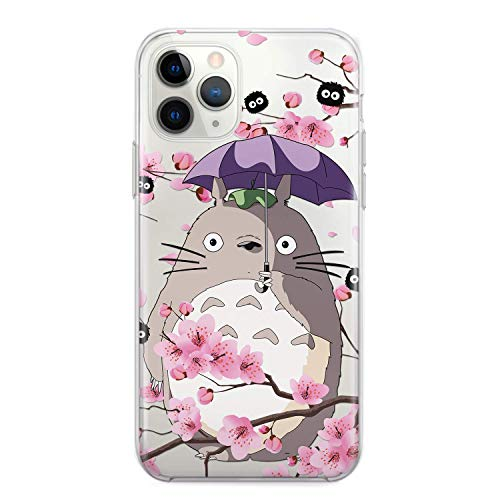 My Neighbor Totoro Cell Phone Case Anime iPhone 7 8 6 6s plus X Xs 12 Mini 11 Pro Max Xr 5 5s se 2 2020 5se 4 4s Sootballs Soot Sprite Sakura Cherry Blossom Tree Fandom Gifts Clear Silicone Cover