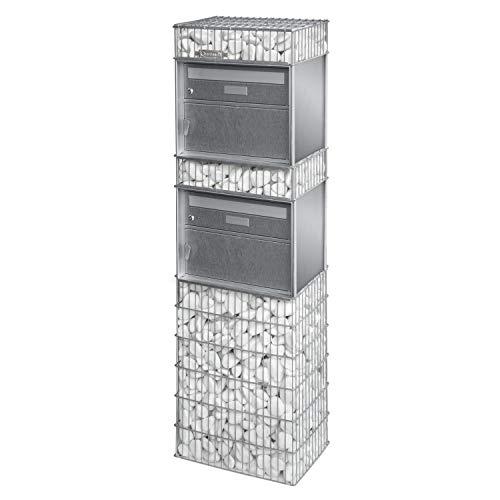 bellissa Briefkasten-Gabione SPÜLGEN 2-95820 - Postkasten mit 2 Brief- und Paketfächern - 44 x 31 x 145 cm