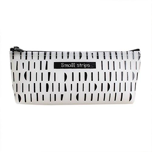 Lumanuby 1x Etui à crayons Trousse à crayon Colle à la gelée sac de crayons Canevas à Rayures grande capacité Sacs Cosmetic Maquillage Petite Poche Sac de rangement 19*7.5*3.5CM Blanc