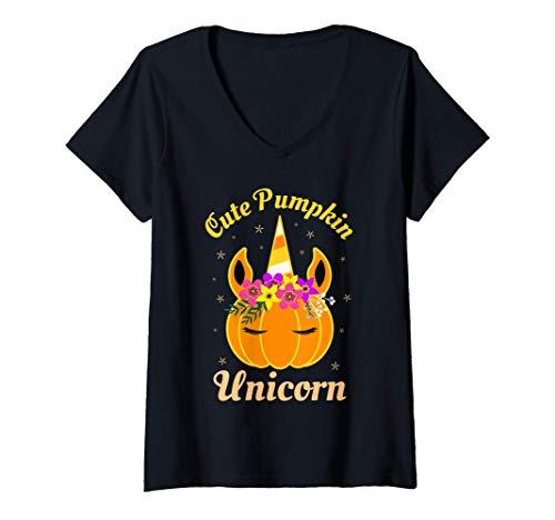 Mujer Lindo disfraz de unicornio de calabaza para niños, truco Camiseta Cuello V