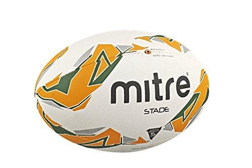 Mitre Men's Stade Match Rugby Ball - White/Green/Orange