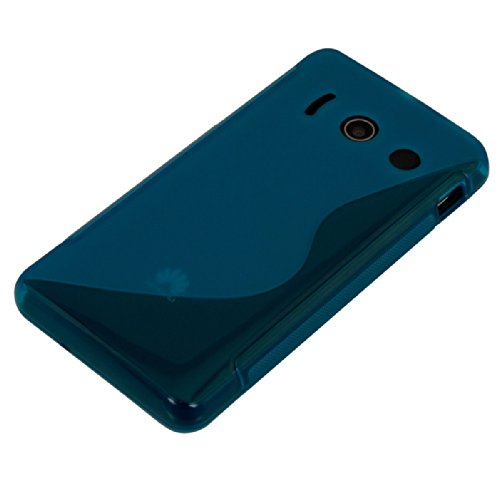 kwmobile Huawei Ascend Y300 Hülle - Handyhülle für Huawei Ascend Y300 - Handy Case in S-Line Design Blau Transparent - 4
