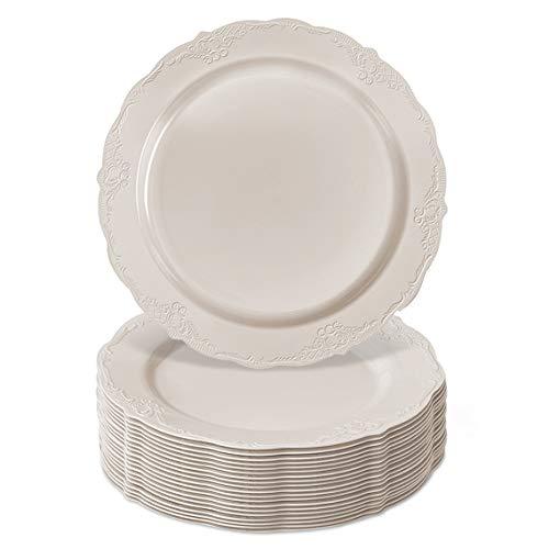 10.25' DISPOSABLE DINNERWARE PLATES   Premium Reusable Plastic   Vintage - Cream   20 Pieces