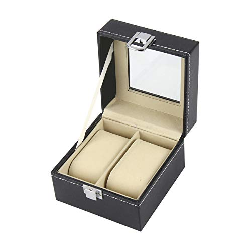 Kitchnexus Schwarz Uhrenbox Vitrinenschrank Uhrenschatulle Schaukasten Uhrenetui Ideal für Haus oder Reise (mit Glasplatte/Samtkissen
