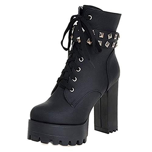 Smilice Damen Stiefeletten mit Absatz Nieten Plateau Ankle Boots (Black, 46 EU)