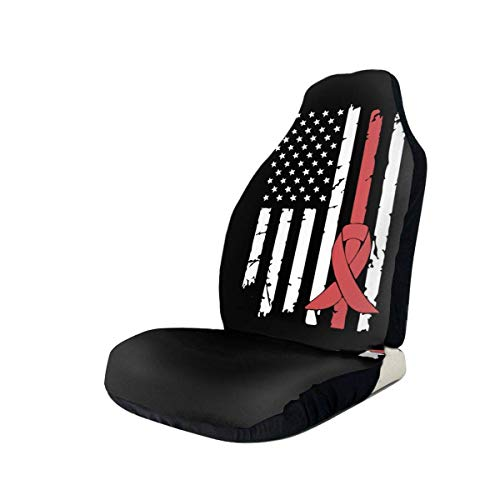 Seat Covers Hirschsprung Cancer Awareness Usa Flag-1 Vordersitzbezug Sitzbezüge Schöne Autositzbezüge 2Pc Soft Retro Car Colourful Printing Seat Protector Langlebig