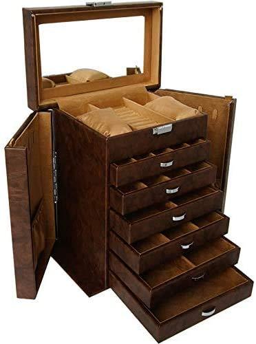 OH Caja de Joyería de Cuero Vintage Caja de Regalo de Joyería Pantalla de Envasado Exquisito Caja de Maquillaje de Lujo Organizador de Joyería Seguro y fuerte