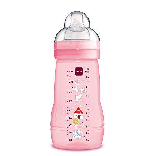MAM Easy Active Trinkflasche (270 ml), Baby Trinkflasche inklusive MAM Sauger Größe 1 aus SkinSoft Silikon, Milchflasche mit ergonomischer Form, 0+ Monate, rosa
