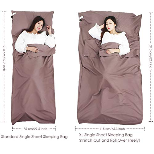 OhhGo Slaapzak Liner Draagbare Single Dubbele Reizen Camping Sheet Rits Hotel Slaapzak voor Reizen Zakelijke Camping BHiking Klimmen Hostels Trein