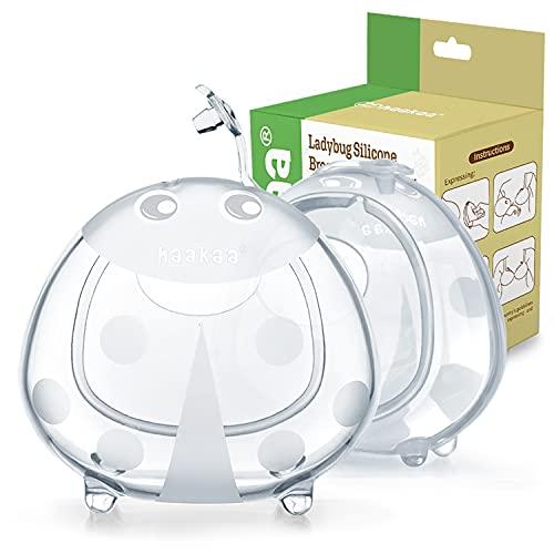 haakaa Recolectoras de Leche Materna Copas - 75ml*2pcs -Protectoras de Pezones, Silicona sin BPA, Cómodo de llevar, Suave Flexible y Reutilizable