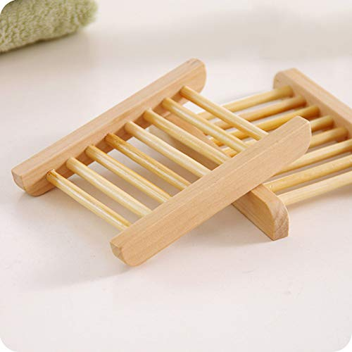 Meiyum 10 Pack Soap Dishes for Bathroom/Shower Soap Holder Natural Wooden Bamboo Soap Dish for Home Bath Accessories