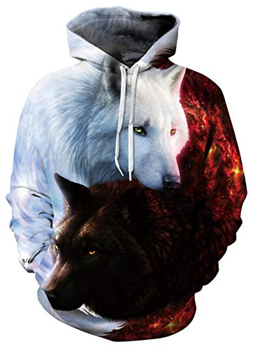 unFocus Sudadera con capucha con estampado de lobo en 3D para mujer hombre manga larga con estampado de doble cara con estampado de animales con cordó con capucha sudaderas con bolsillo XXL