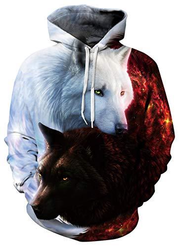 SunFocus Sudadera con Capucha de Lobo para Mujer Hombre Estampado de Doble Cara en 3D con Estampado de Animales Blanco Sudadera con Capucha, para Uso Diario y Festivo M