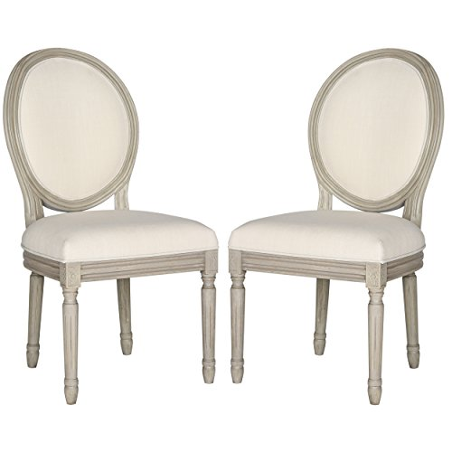 Safavieh Safavieh Home Collection Holloway French Brasserie Oval Side Chair, Set of 2, 19', Light Beige/Rustic Grey