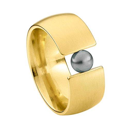 Heideman Ring Damen aus Edelstahl Gold farbend matt Damenring für Frauen mit Swarovski Perle schwarz rund 6mm