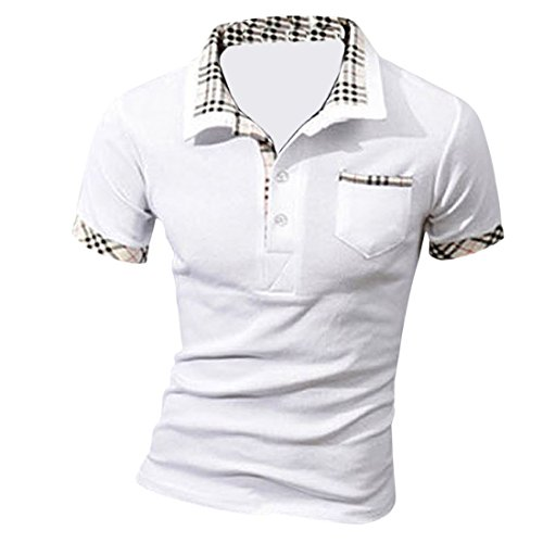 MQ Homme Nouveau Polo Shirts Manche Courte Casual T-shirt Mode Mince Fit Chemise Tee Tops, Blanc, XL(Buste:40.9 inches/104cm)