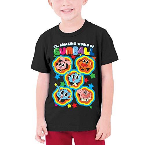 shenguang Camiseta de manga corta para nios y nias, diseo de The Amazing World of Gumball, color negro