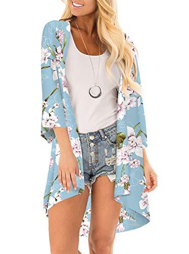 Women Floral Print Kimono Cover Up Sheer Chiffon Blouse Loose Long Cardigan Sky Blue Small