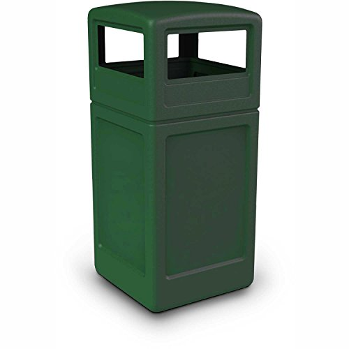 Commercial Zone Square Waste Container with Dome Lid, 42 Gallon, Green