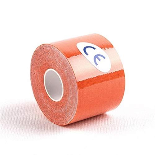 Cinta adhesiva deportiva multiusos de 5 cm x 5 m, cinta adhesiva de yeso elástica para deportes, cinta de kinesiología, vendas adhesivas, para hacer ejercicio, deportes (color naranja)