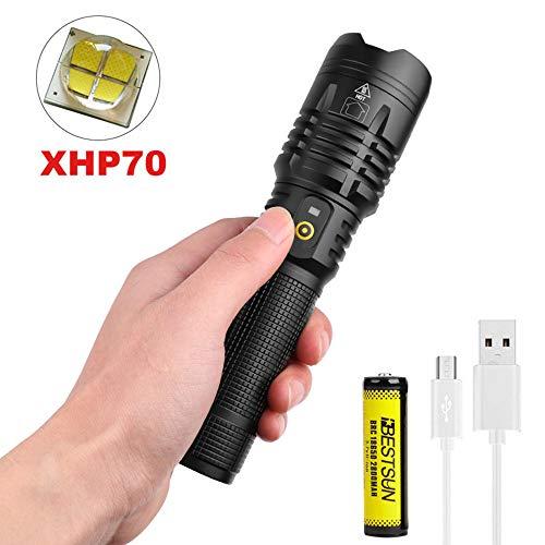 XHP70 Linterna LED Recargable USB Potente Linterna Tactica, LUXNOVAQ 8000 Lumen EDC Linterna de Mano Portátil Zoomable Torches Flashlight Impermeable con Batería y 5 Modos para Acampada Senderismo