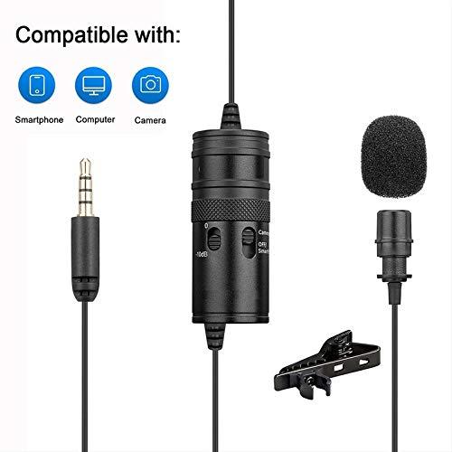 KMNC M1 Lavalier Microphone for Smartphones Ca-Non Ni-kon DSLR Cameras Camcorders Audio Recorder PC Recording YouTube Interview Podcast Blog Vlog (Black)