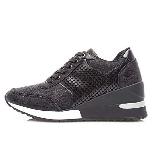 Zapatillas Deportivas Plataforma Cuña para Mujer - ANJOUFEMME Zapatos Wedge Sneakers Mujer, Apto para Todas Las Estaciones SM1-BLACK-39