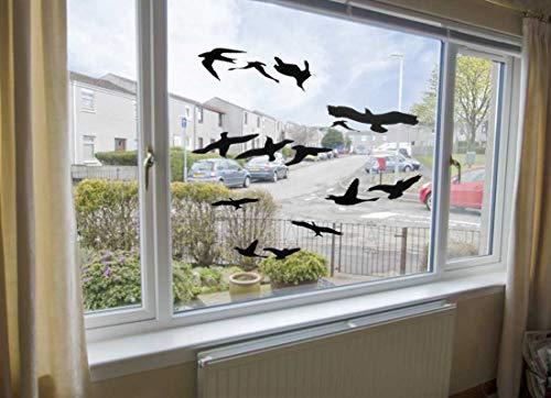 Muttify Lot de 12 autocollants anti-colision pour fenêtre d'alerte d'oiseau Silhouettes en verre Protection de porte Sauver les oiseaux, 12 autocollants Noir