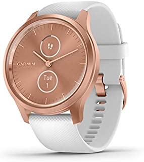 Garmin vívomove Style, Hybrid Smartwatch with Real Watch Hands and Hidden Color Touchscreen Displays, Rose Gold with White Band