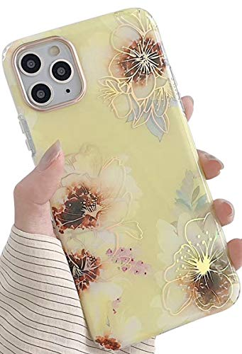 SDUXAPN Case for iPhone 11 Pro Max Yellow Retro Flowers Luxury Glitter Sparkle Bling Slim Stylish Cute Vintage Floral Fashion Design Protective Soft Bumper Drop Proof Cover for Girls Women