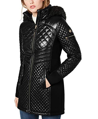 Michael Michael Kors Hooded Faux Fur Trim Puffer Coat Jacket Black (M)