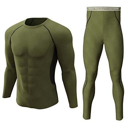 Thermal Underwear Set Winter Hunting Gear Sport Long Johns Base Layer Bottom Top Army Green S Style 2