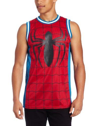 Spiderman Men's Marvel Parks Basketball Jersey, Red/Royal, Large