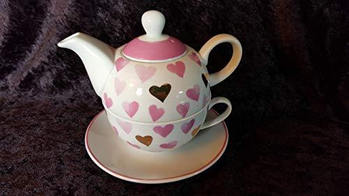 Wurm KG Tea for one Set mit rosa und goldenen Herzen 350 ml Neu