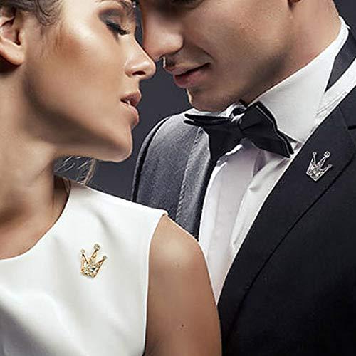 TseenYi Modische Strass-Brosche, Mini-Krone, Kristall, Kragennadel, Brustnadel, Kleidung, Schmuck, Geschenke für Männer und Frauen (Gold)