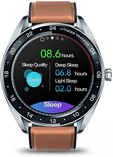 Smartwatch 1.3 pulgadas de pantalla táctil redonda ultra delgada Dial Fitness Tracker podómetro reloj deportivo pulsera de cuero hombres y mujeres