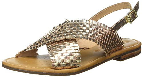 Geox D Sozy S A, Sandal. Femme, Doré, 39 EU