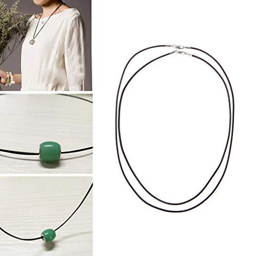SimpleLife Collar Cuerda Collar de Cuero de Seda Negro Colgante Cuerda de cordón con Cierre de Pinza de Langosta para Hombres y Mujeres