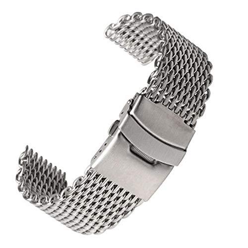 YWSZY Plata 18mm / 20mm / 22mm / 24mm De Acero De Malla Milanesa Tiburón Venda De Reloj De La Correa De Malla De Metal Correa De Reloj Pulsera De Reloj For Acero