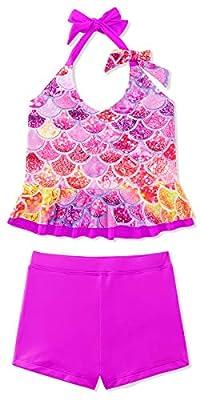 Girls Two Piece Bikini Swimsuits Bowknot Pink Mermaid Swimwear Bathing Suit Set for Little Girl for Beach Swimming Pool