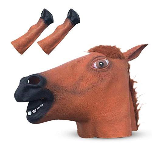 Paard hoofd masker eenhoorn masker volledig gezicht Halloween Cosplay nieuwigheid griezelig hoofd theater dier kostuum Prop partij Latex masker, Set