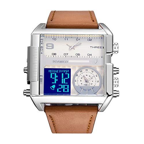 COFFEE CAT Reloj de los Hombres Reloj Deportivo Digital para Hombre Pantalla Led Big Face Relojes Militares - Impermeable Casual Luminoso
