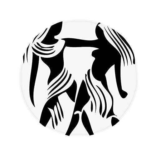 DIYthinker géminis de la constelación del Zodiaco del Piso Antideslizante Estera del Animal doméstico Ronda baño Sala Cocina Puerta 80cm Regalo 80 X 80cm